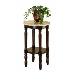 Bastain Dark Cherry Round End Table with Marble Top