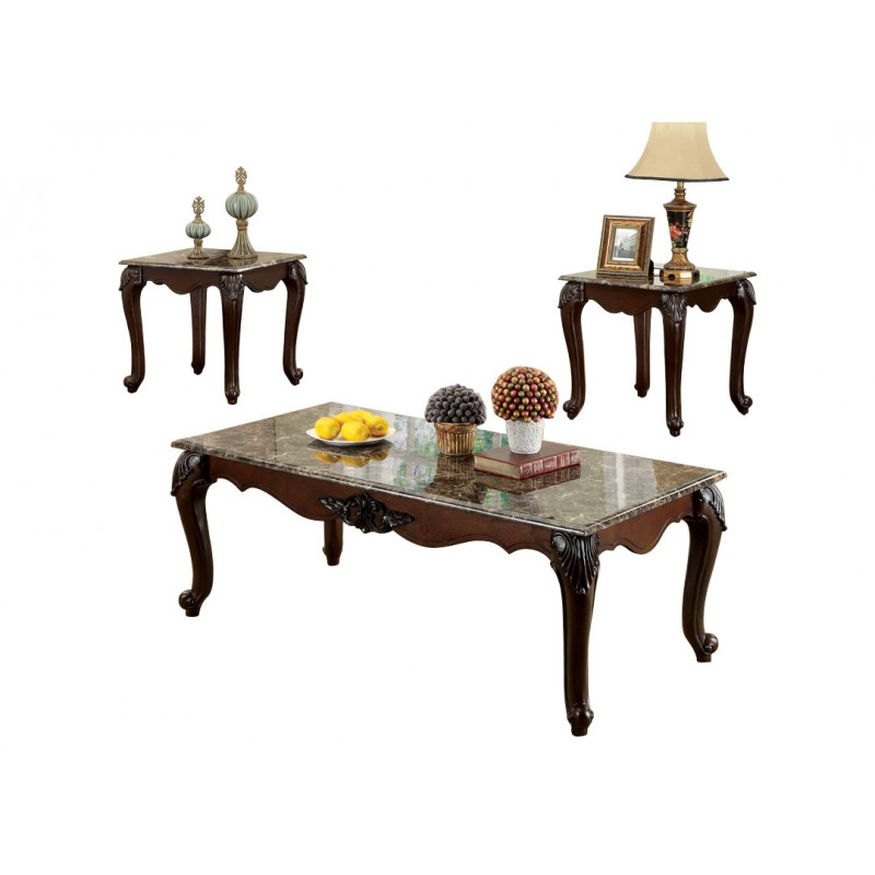 Robbie coffee table set with faux marble top home furniture direct Granite top coffee table sets